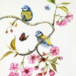 """""""Cherry Blossom & Blue Tits"""" by Janet Sirrell"""